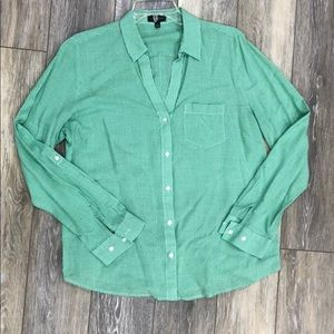 Limited green & white plaid blouse size M